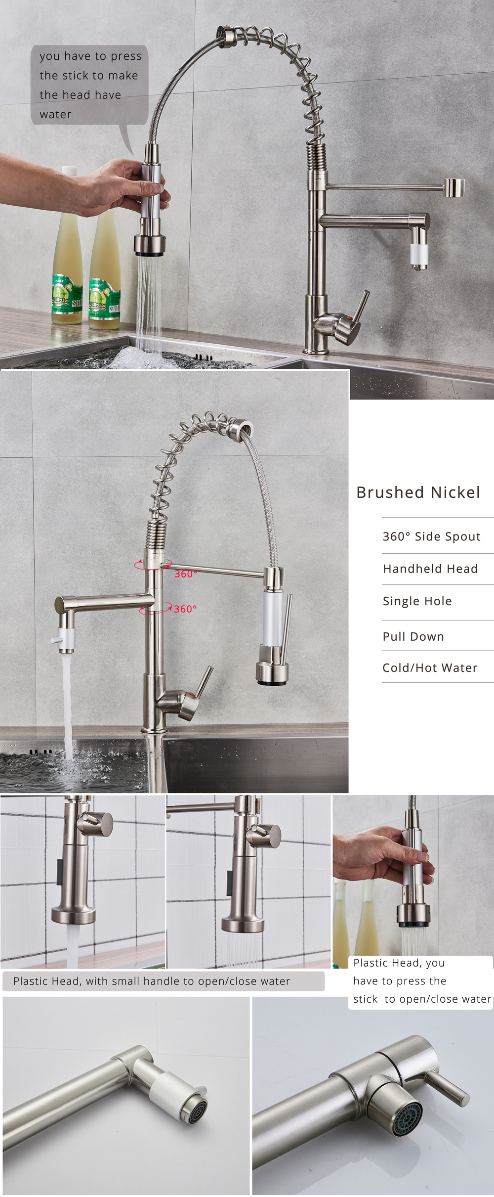 H258effa55200461baf2efbc446c9fb97N Rozin Black and Rose Golden Spring Pull Down Kitchen Sink Faucet Hot & Cold Water Mixer Crane Tap with Dual Spout Deck Mounted