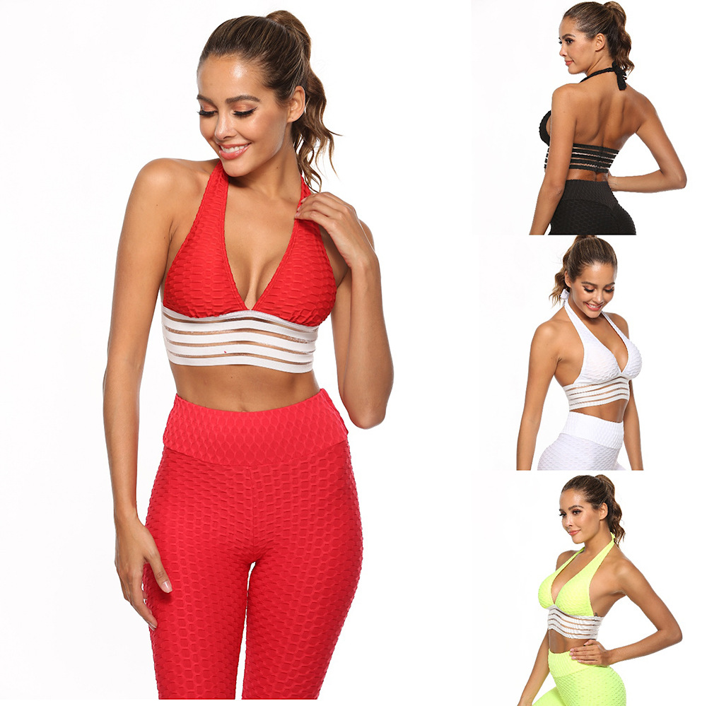 2019 Latest New Women Sexy Vests Suit Fashion Hot Jacquard Fitness Leggings Sports Slim Leggings Sexy Yo-ga Set 2piece Set Women