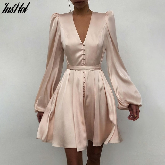 Spring Fashion Satin Solid Long Sleeve Dress 2021 Elegant Women Button A-Line Mini Dress Casual Loose V-Neck Party Dress Vestido 1