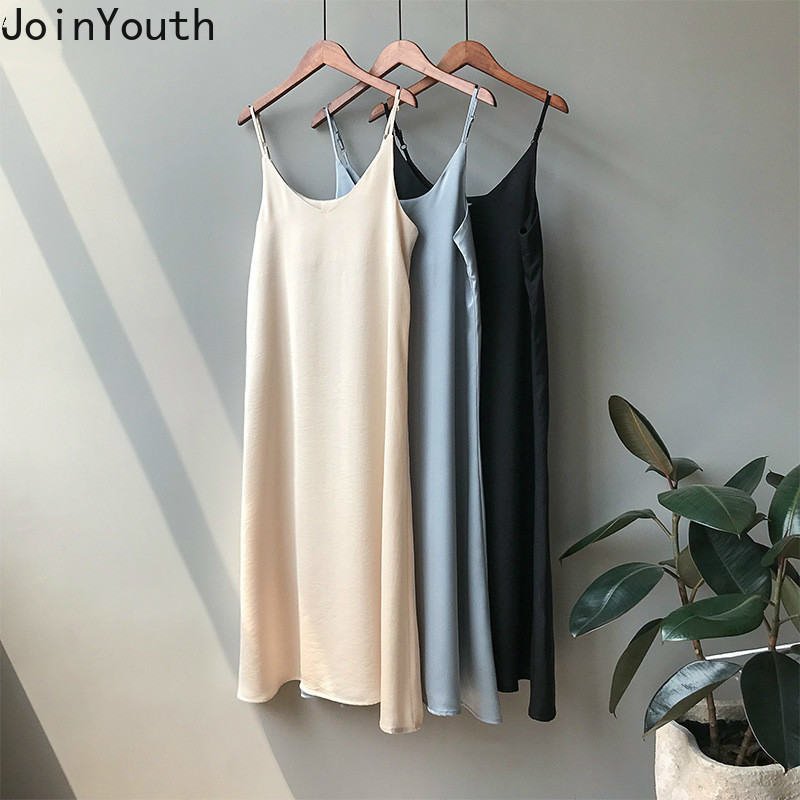 JoinYouth  Vintage Satin Solid Dress Women 2020 Elegant V Neck Long Sexy Dresses Summer Autumn 2020 Korean Lady Vestidos J005