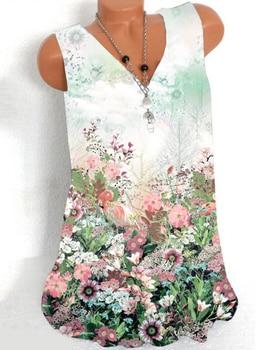 New womens V-neck T-shirt printing casual sleeveless vest shirt ladies bottoming fashion