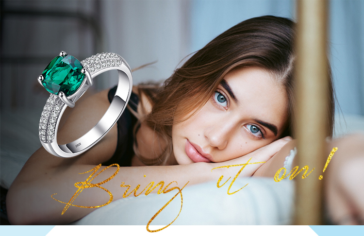 H258f619184a1466f97ded9b820950603p JewelryPalace Cushion Created Nano Emerald Ring 925 Sterling Silver Rings for Women Engagement Ring Silver 925 Gemstones Jewelry