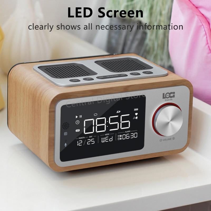 Retro Holz Drahtlose Bluetooth Lautsprecher Kleine Tragbare 6W Hause Led bildschirm FM Radio Wecker Stereo Lautsprecher Bass Subwoofer - 2