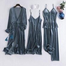 2019 Autumn Winter Gold Velvet 4 Pieces Warm Women Pajamas Sets Sexy Lace Sleepwear Sexy Sl