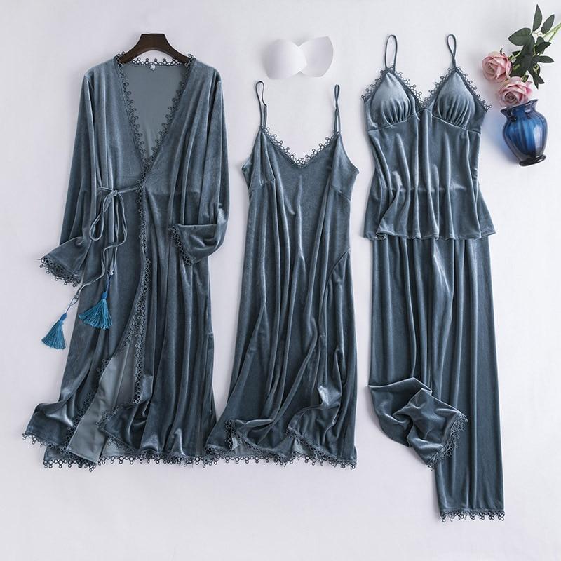 2019 Autumn Winter Gold Velvet 4 Pieces Warm Women   Pajamas     Sets   Sexy Lace Sleepwear Sexy Sleep Lounge Sleeveless Nightwear