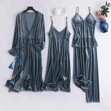 Sexy Lace Sleepwear Women Pyjamas 4 Pieces 2019 Autumn Winter Warm Women Pajamas Sets Sexy