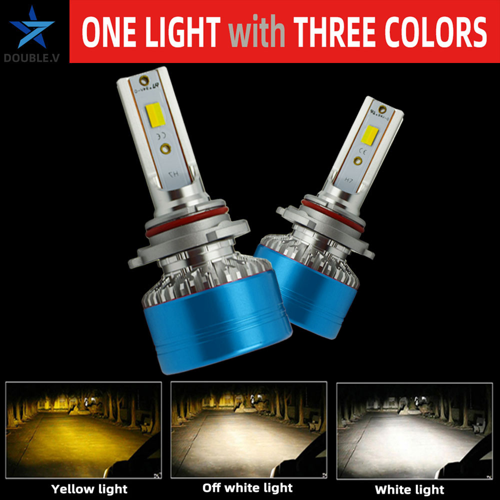 2PCS Three-colour H1 H3 H4 H7 9006 <font><b>HB4</b></font> LED Car Headlight 12V 24V 36V <font><b>3000K</b></font> 4300K 6000K Light <font><b>Bulb</b></font> H11 9005 HB3 LED Lamp <font><b>Bulb</b></font> image