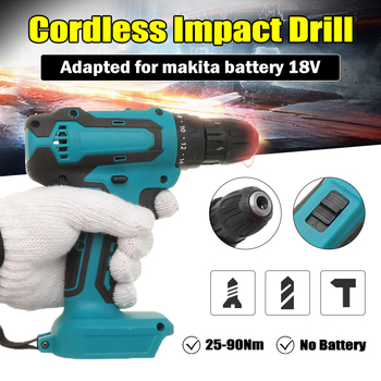 цена на 18V Electric Cordless Impact Drill Hammer Drill Screwdriver DIY Power Tool 10mm Rechargable Electric Tool For Makita Battery