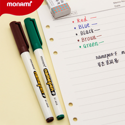Monami Name Pen F Black Red color 1mm Fine Permanent Marker Pens for Fabric Plastic Signature Namepen DIY Drawing School F582