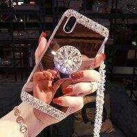 Kristall Bling Spiegel Telefon Fall Für XiaoMi 10T 10 Pro Mi 11 POCO X3 NFC Mi 9 Mi 9T Pro Mi8 SE Mi8 Lite Mix 2S Mi 6 6X 5X Abdeckung