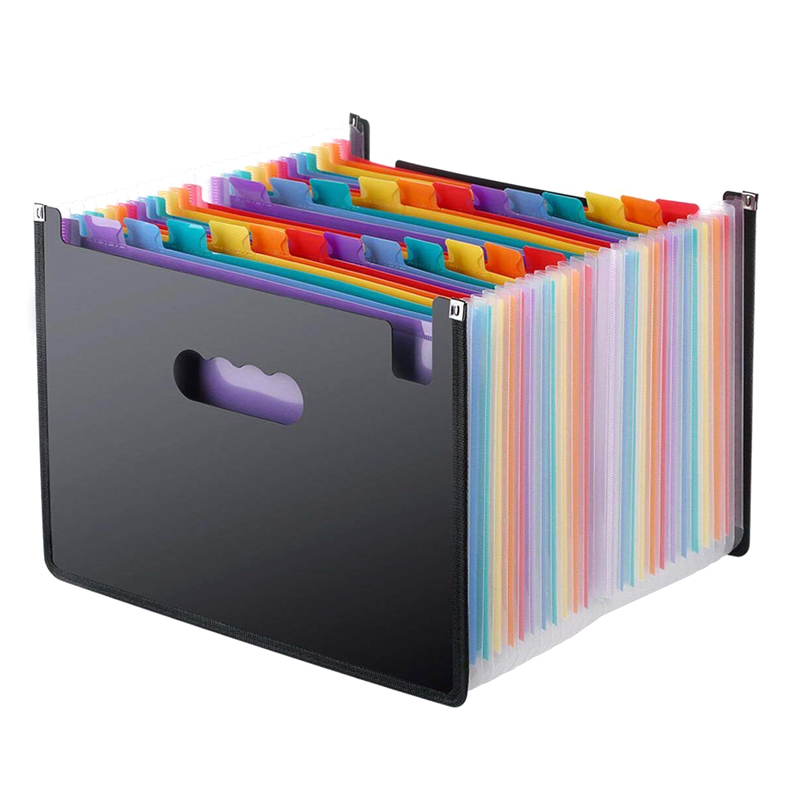 13/24 Pockets Expanding File Folder Works Accordion Office A4 Document Organizer FKU66