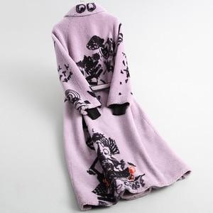 Image 2 - 우아한 겨울 긴 모직 따뜻한 진짜 모피 플러스 크기 코트 인쇄 두꺼운 턴 다운 칼라 슬림 재킷 고품질 라일락 Outwear