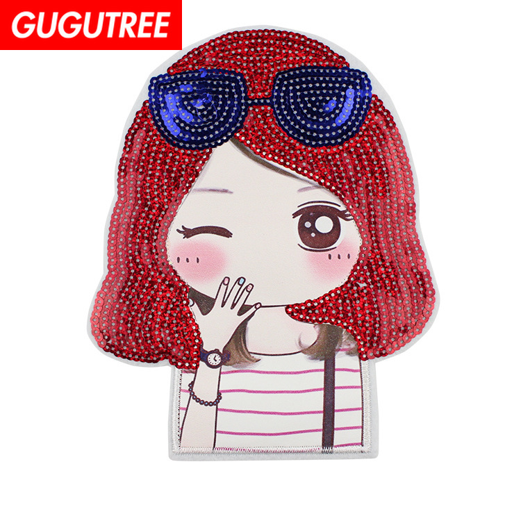 GUGUTREE embroidery Sequins big belle patches girls badges applique for clothing XC-27