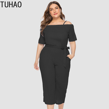 TUHAO 4XL 3XL Summer Plus Size Jumpsuit Women 2019 Sexy Big Size Romper Overall Large Size Casual Female Elegant Jumpsuit