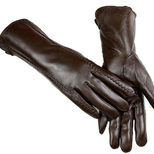 Image 3 - Leather sheepskin gloves womens mid length stripes plus velvet warm autumn and winter windproof free shipping