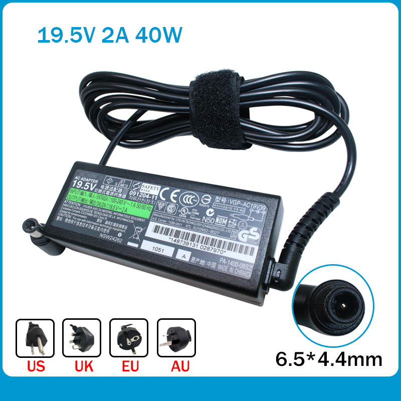 19.5V 2A 40W AC Laptop Adapter Charger Power Supply For Sony VGP-AC19V39 VGP-AC19V40 VGP-AC19V47 VGP-AC19V57AC19V57 PA-1400-06SN