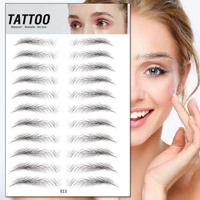 8 Style 4D Hair-like Eyebrows Professional Makeup Waterproof Lasting Eye Brow Tattoo Sticker False Eyebrow Henna Korea Cosmetic 4