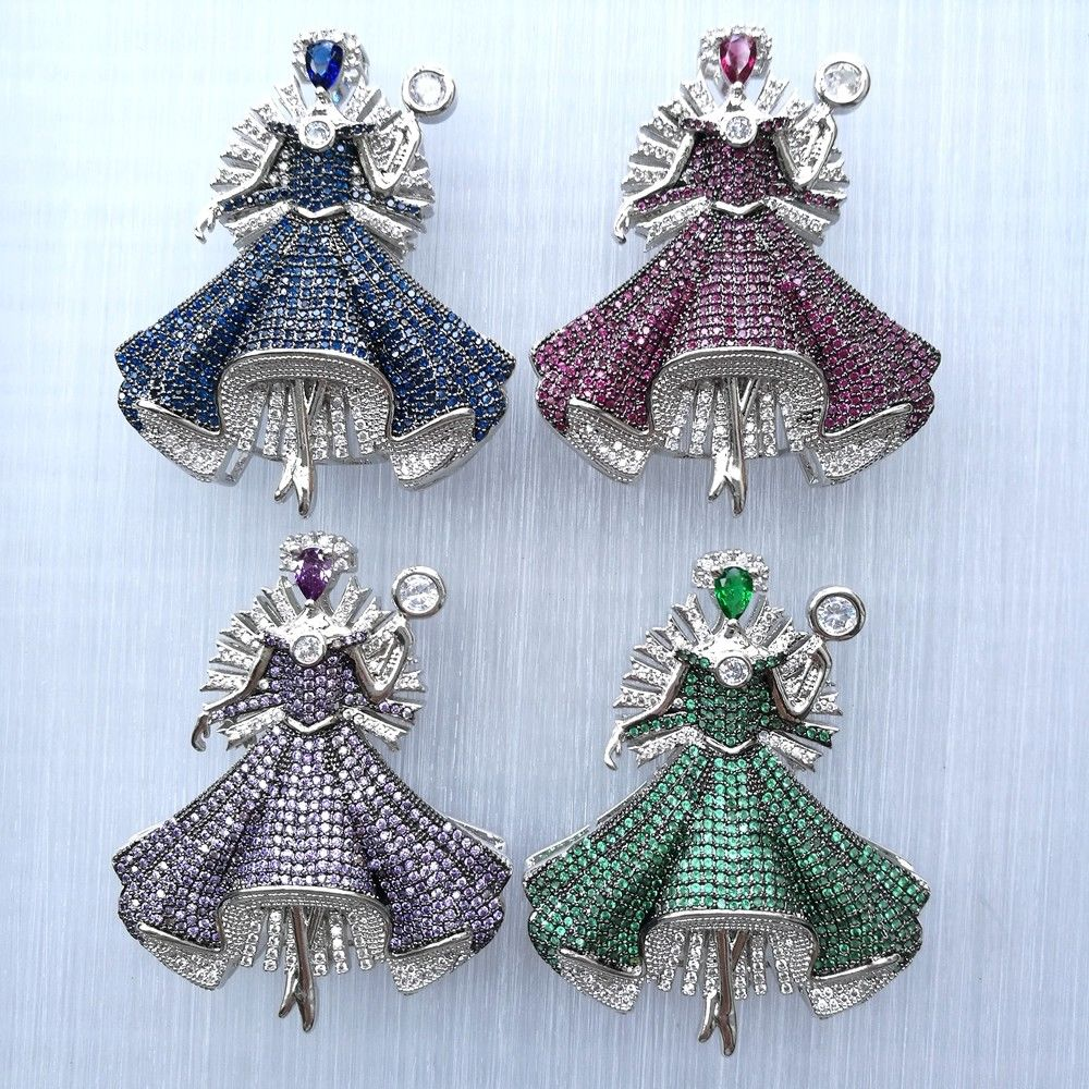 1 Pc 44x54mm CZ Micro Pave Mixed Color Princess Pendant Jewelry Connector