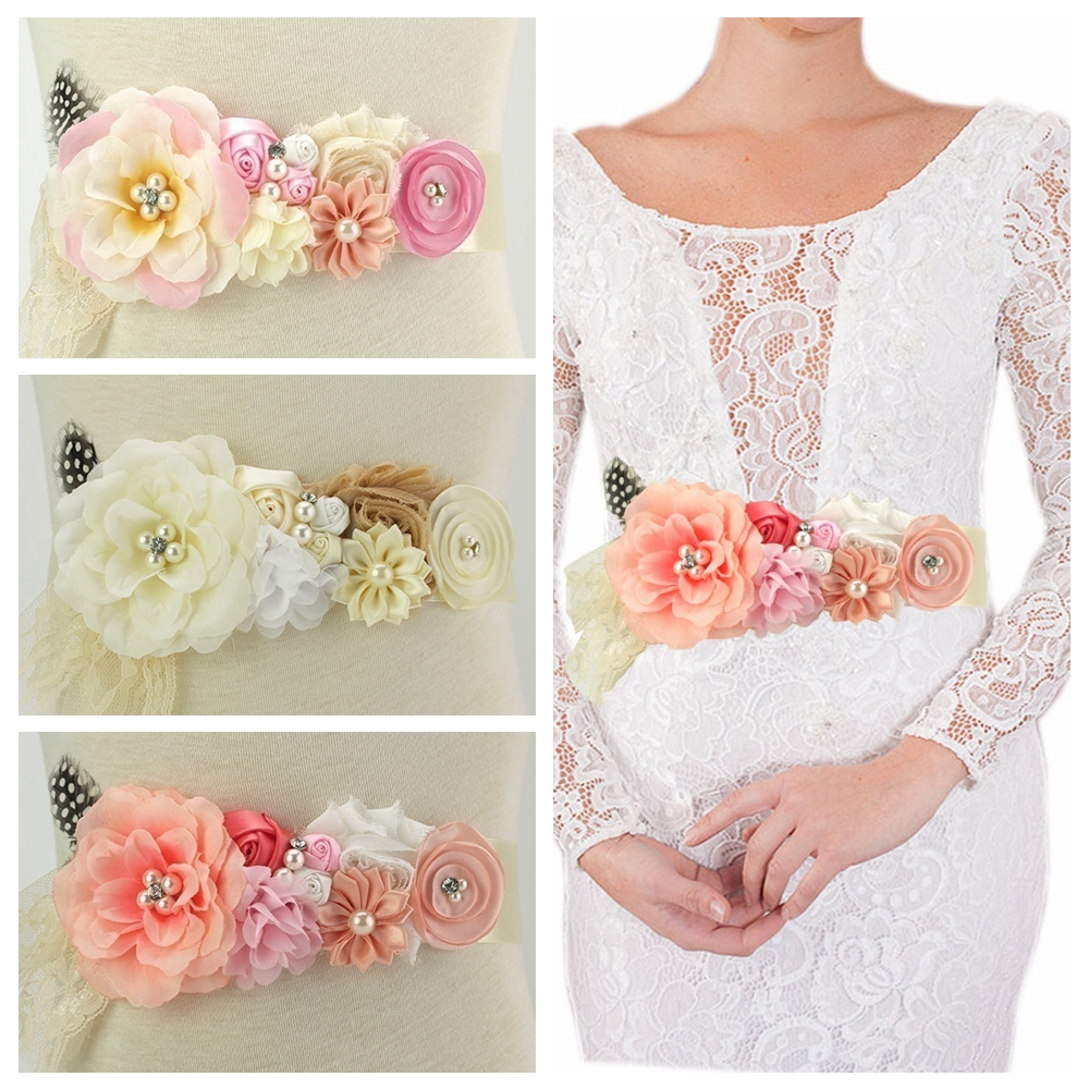Maternity Sash Belt Fabric Chiffon DIY Flower Girl Sash Fashion Women Photography Sash Wedding Dress Sashes