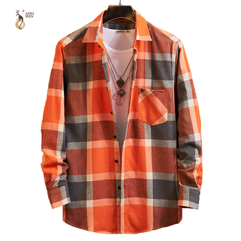 Aoliwen 2019 Men's long sleeve plaid shirt flannel cotton button down casual shirt men Comfortable pocket top autumn clothes button down long sleeve pocket shirt