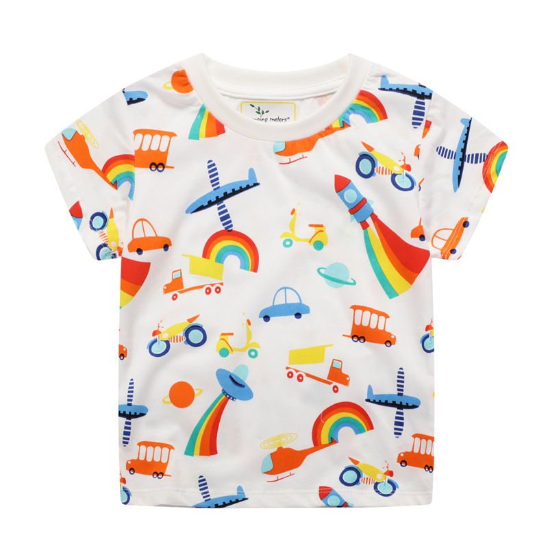 Jumping meters New 2020 Cartoon Boys Girls Tees for Summer 100% Cotton Baby Clothing Short Sleeve T shirts Cute Rockets Print 1