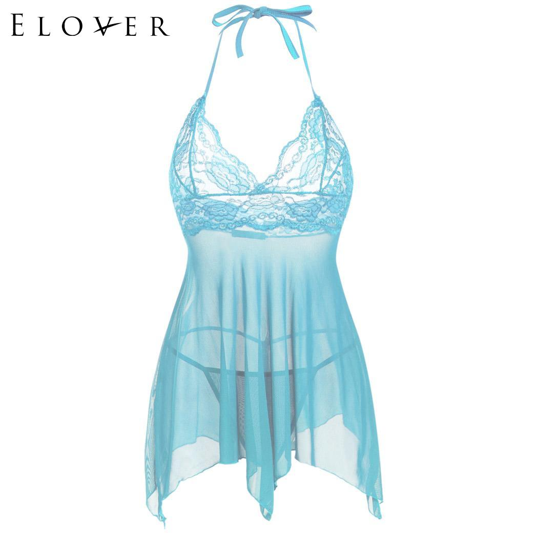 Women <font><b>Sexy</b></font> <font><b>Lingerie</b></font> Dress Halter Babydoll Chemise Floral Lace See-through Chiffon Porno Sleepwear Erotic <font><b>Underwear</b></font> Nightdress image