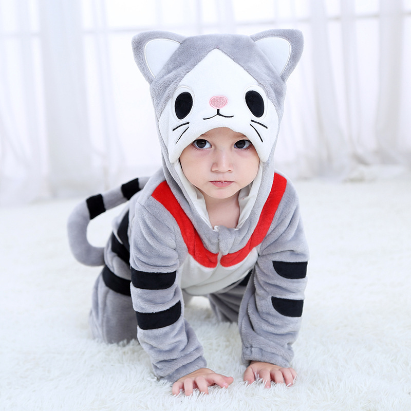 SAILEROAD Cartoon Cat Kigurumi Baby Kids Cartoon Animal Cosplay Costume Warm Soft Flannel Fancy Onesie Cute Cat Pajama Body Suit