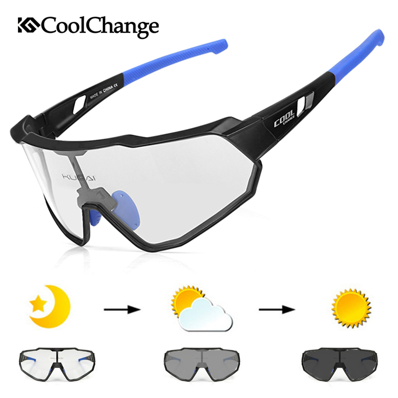 CoolChange Photochromic Cycling Glasses Running Outdoor Sports MTB Bike Sunglasses UV400 Men Women Road Bicycle Goggles Eyewear
