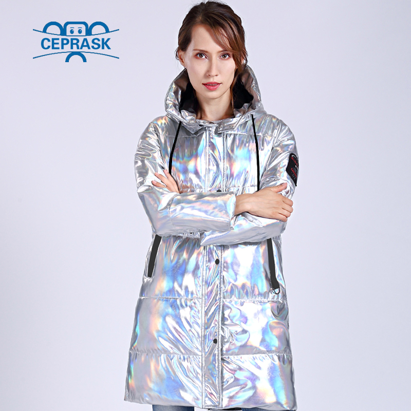 CEPRASK 2019 Winter Jacket Women Silver Holographic Glitter Plus Size Long Women's Winter Coat Hooded Thick Down Jacket   Parka