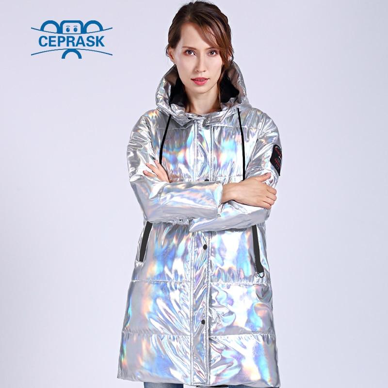 CEPRASK 2020 Winter Jacket Women Silver Holographic Glitter Plus Size Long  Women's Winter Coat Hooded Thick Down Jacket Parka