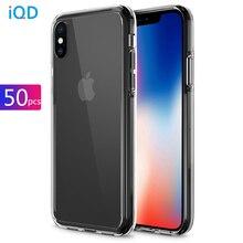 50 adet iphone 11 Pro Xs Max Durumda Şeffaf TPU Apple iphone X Xr 8 7 6 Artı kapak Sert Geri Koruyucu Gömme Kılıfları