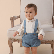 Spanish Baby Clothes Set for Girls Boys 2021 Newborn Infant Cotton Linen Blouse with Shorts Suits Long Sleeve Shirt Top Outfit