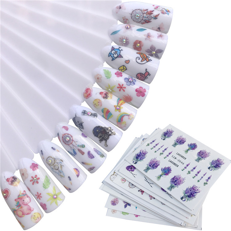 New Style Japanese-style Manicure Flower Watermark Stickers Hipster Lavender Adhesive Paper Stereo Beautiful DIY Manicure Sticke