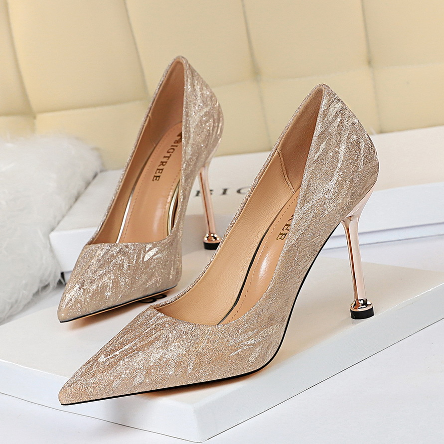Top high heel dance club shoes female sense sequins high heels 2019 new luxury party shoes wedding high heels