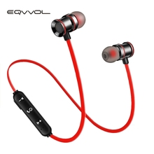 Eqvvol 5.0 Wireless Bluetooth Earphone Metal Magnetic Stereo Headphone Neckband Sports SweatProof Headset For Samsang iPhone PC teamyo metal sports bluetooth headphone sweatproof earphone magnetic earpiece stereo wireless headset for mobile phone foriphone