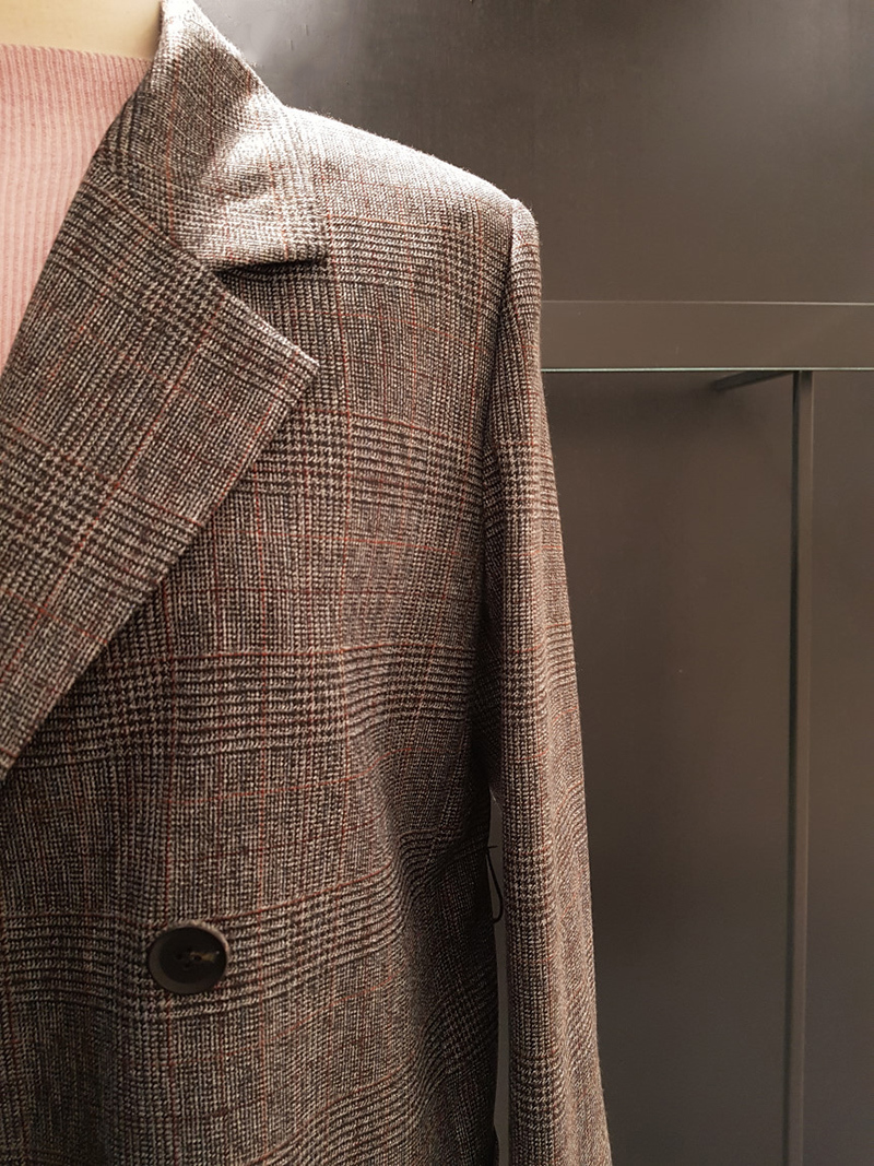 [EWQ] 2020 Spring And Autumn New Full Sleeve High Quality Women Woolen Blazer Korea Style Loose Belt Checkered Casual Coat QZ174