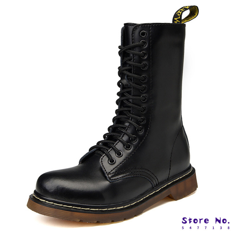 Genuine Leather Men Boots Winter Shoes Warm Fur Tactical Military Boots For Martin Boots Motocycle Mid-calf Boots Male Plus Size