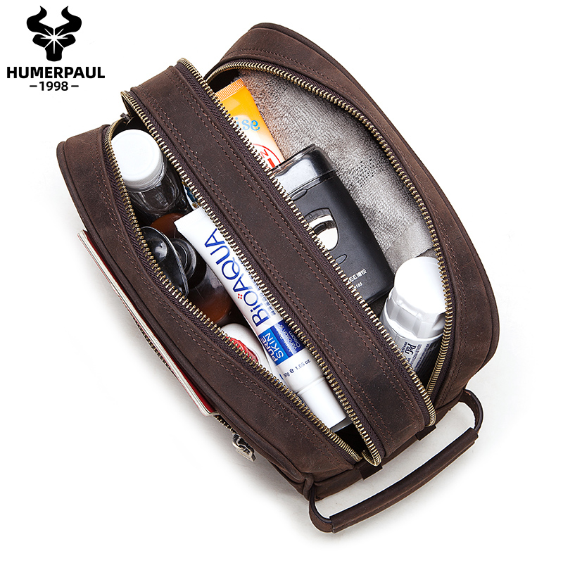 Crazy Horse Leather Multifunctional Portable Cosmetic Bag MenTravel Wash Toothbrush Pouch Organizer Zipper Toiletry Kit Bags image