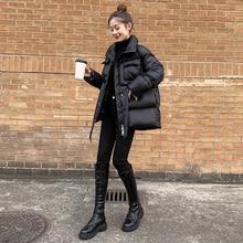 Women's winter down coat black plus size belt zipper fashion puffer high quality hot selling short jacket