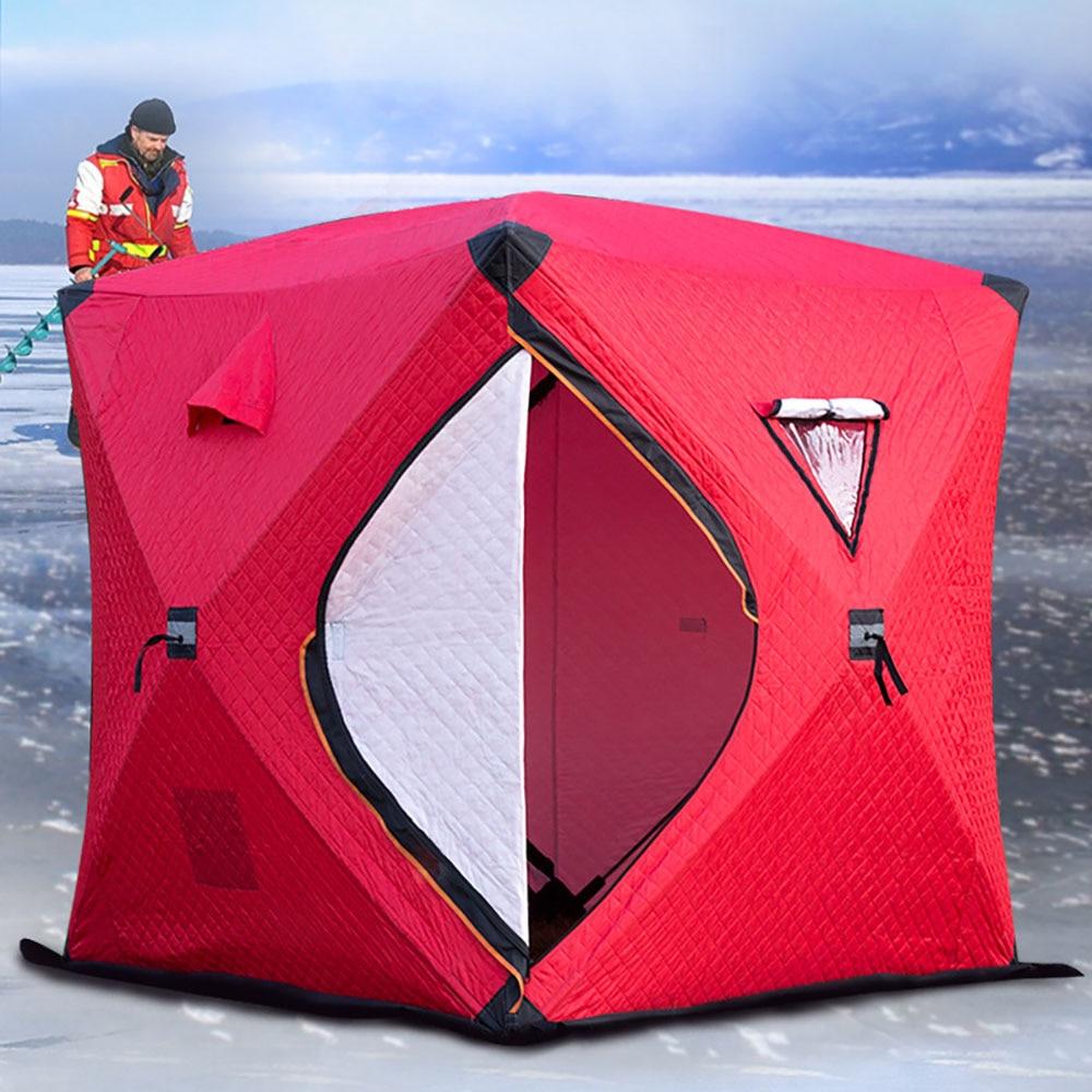 Большое пространство, для 3 4 человек, быстро открывающийся, толкающий, плюс хлопок, теплый, для улицы, зимний, для подледной рыбалки, утолщенная палатка, палатка для кемпинга, рыболовная палатка