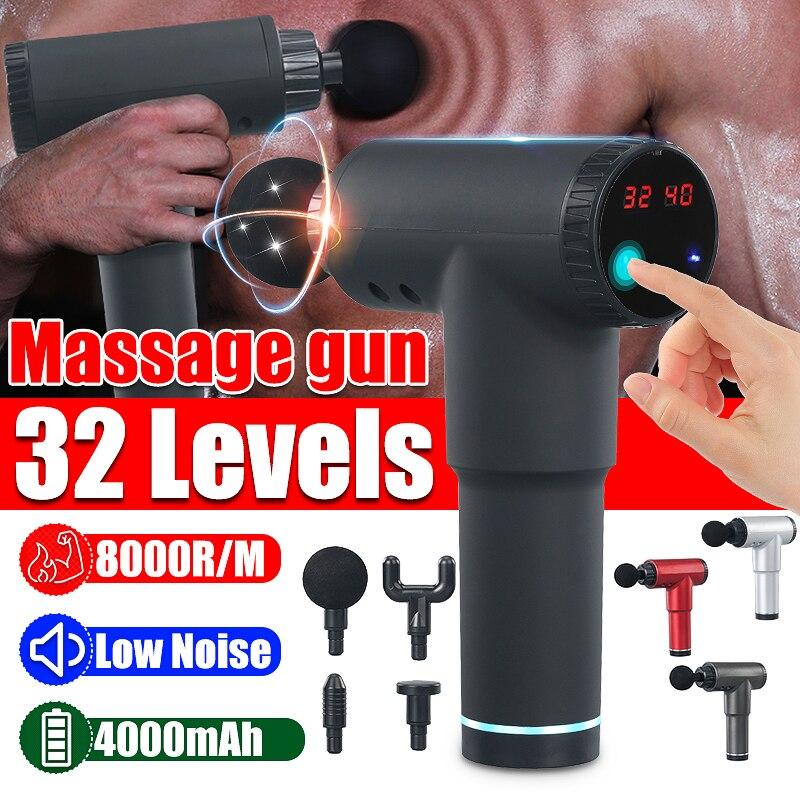 8000r/Min Therapie Massage Gun 32 Versnellingen Muscle Massager Pijn Sport Massage Machine Relax Body Afslanken Relief Met 4 heads|Fascia Gun| - AliExpress