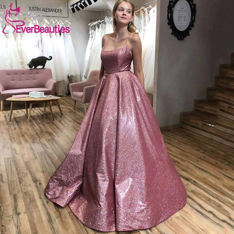Robe De Soiree Glittering Blush Sequin Evening Dress Spaghetti Straps Backless Ball Gown Prom Party Dresses Long 2020