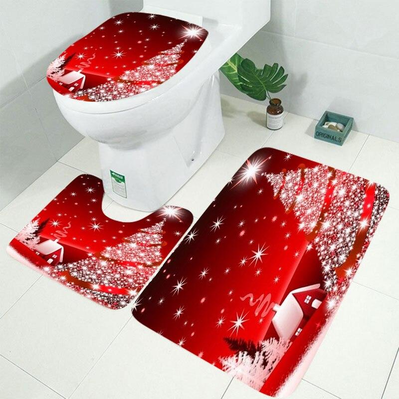 10 видов Рождественская задняя капля Снежный принт Водонепроницаемая занавеска для ванной комнаты занавеска для ванной унитаза коврик набор нескользящих ковриков - Цвет: RS003 3pcs Mat set