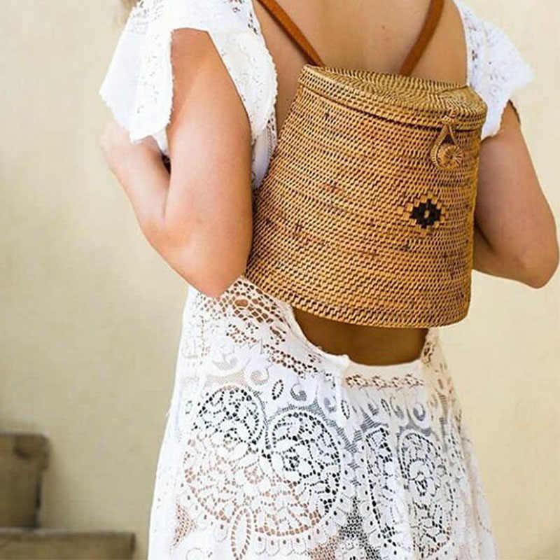 2019 ins bali rattan bolsas femininas saco de palha tecido verão bolsa artesanal bali praia ombro arco sacos tecido boêmio saco um dos