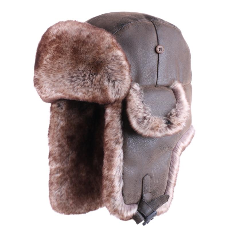 Bomber Hats Winter Men Russian Ushanka Hat Vintage Ear Flap PU Leather Snow Hat Ski Cap Faux Fur Pilot Trapper Trooper Cossack