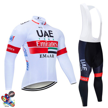 цена на 2020 UAE Pro Team Long Sleeve Cycling Jersey Set Bib Pants Ropa Ciclismo Bicycle Clothing MTB Bike Jersey Uniform Men Clothes