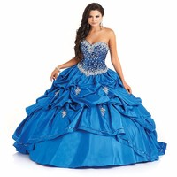 Sweet 16 Dresses Bead Blue Taffeta Appliques Sparkly Beaded Bodice Navy Blue Quinceanera Dresses With Jacket Vestidos De 15 Anos