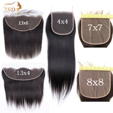 JSDShine 7x7 6X6 Lace Closure Straight Human Hair Closure With Baby Hair Swiss 13x4 13x6 Lace Frontal Remy Hair Natural Black(China)
