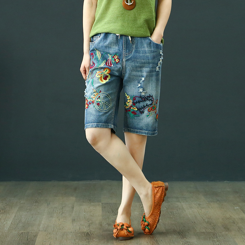 National Wind Retro With Holes Embroidery Shorts Jeans Loose-Fit Slimming Versatile Casual Literature And Art Embroidered Shorts