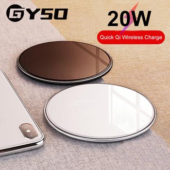 GYSO 20W szybka bezprzewodowa ładowarka Qi dla iPhone 11 Pro X XS Max XR 8 Plus bezprzewodowa ładowarka USB dla Samsung S9 S10 S20 uwaga 9 8 tanie i dobre opinie Szkło Z wskaźnik ładowania Z kablem Z LED światła Używany z telefonu Używany z Smartwatch Używany z słuchawki Micro Usb